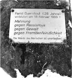 Gedenkstein für Farid Guendoul in Guben