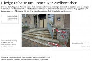 Bericht der MAZ über den Brandanschlag auf das geplante Flüchtlingsheim in Premnitz 2013