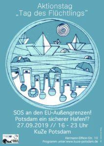 Flyer zum Aktionstag des Flüchtlings.